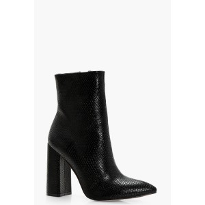 Snake Detail Pointed Sock Boots