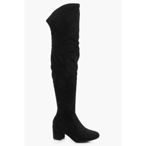 Extra Wide Fit Block Heel Over The Knee Boots
