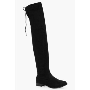Flat Tie Back Thigh High Boots