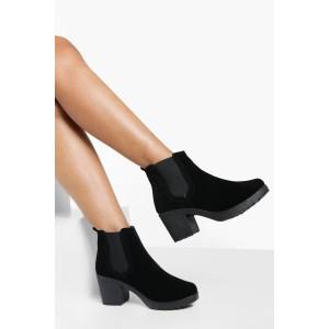 Block Heel Suedette Chelsea Boots