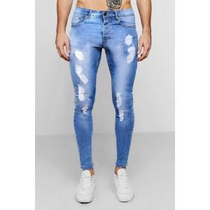 Spray On Skinny Fit Distressed Denim Jeans