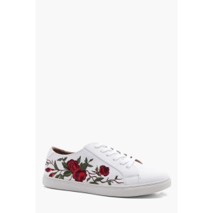 Rose Embroidered PU Trainer