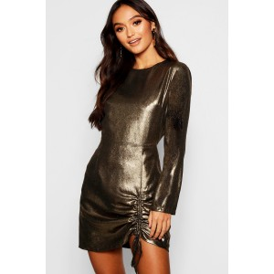 Petite Woven Metallic Ruched Detail Dress