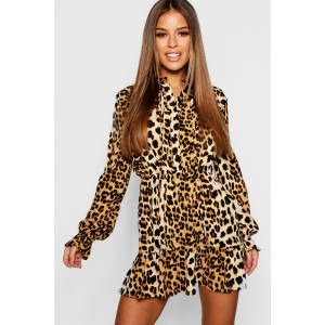 Petite Leopard Print Pussy Bow Smock Dress