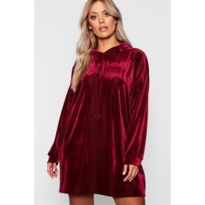 Plus Velvet Hooded Ribbed Dress