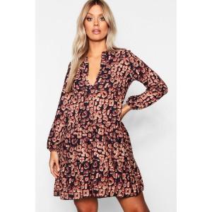 Plus Leopard Smock Dress