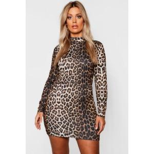 Plus High Neck Long Sleeve Leopard Mini Dress