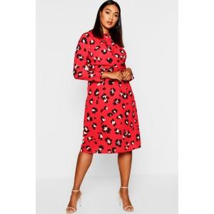Plus Leopard Print Tie Front Midi Dress