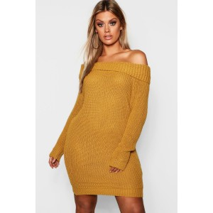 Plus Off The Shoulder Knitted Dress