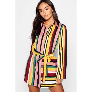 Petite Striped Shirt Dress
