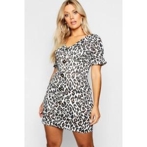 Plus Leopard Printed Horn Button Frill Dress