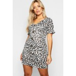 Plus Leopard Printed Horn Button Frill Dress