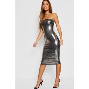 Petite Metallic Bandeau Midi Dress