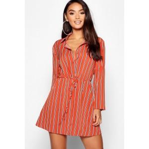 Petite Woven Stripe Tie Waist Shift Dress