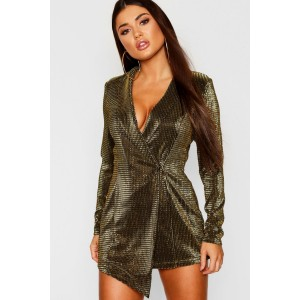 Petite Metallic Blazer Dress