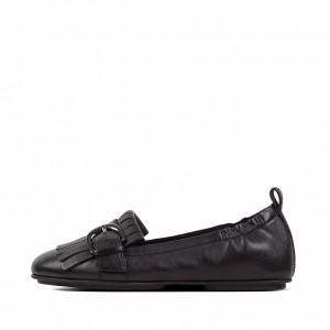 Fringe Leather Ballet Flats