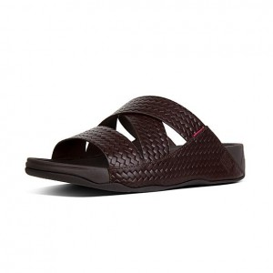 Mens Woven Embossed Leather Sandals