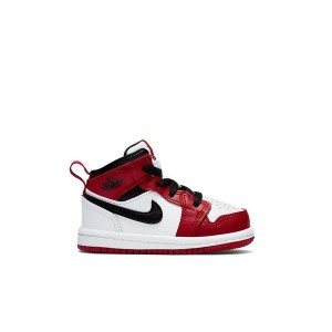 Jordan 1 Mid White/Gym Red/Black Toddler Boys Shoe