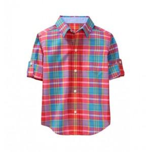 Roll-Cuff Plaid Madras Shirt