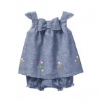Embroidered Chambray Set