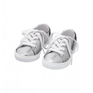 Metallic Lace-Up Ruffle Sneaker
