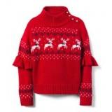 Reindeer Ruffle Sleeve Sweater