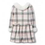 Checked Faux Fur Trim Dress
