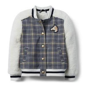 Plaid Sherpa Letterman Jacket