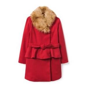 Faux Fur Peplum Coat