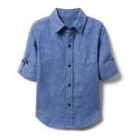 Chambray Linen Roll-Cuff Shirt