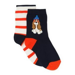 Stripe & Dog Sock 2-Pack