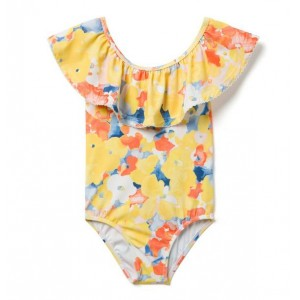 AERIN Ruffle Watercolor Floral Swimsuit