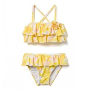 AERIN Leaf Print Ruffle 2-Piece Swimsuit