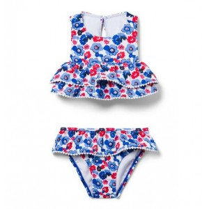 Floral Ruffle 2-Piece Swimsuit