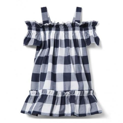 쟈니앤잭 Gingham Cold Shoulder Dress