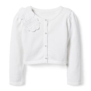 Cropped Flower Applique Cardigan