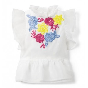 Floral Embroidered Organza Top