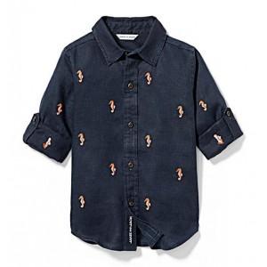 Seahorse Linen Roll-Cuff Shirt