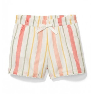 Striped Pom-Pom Trim Short