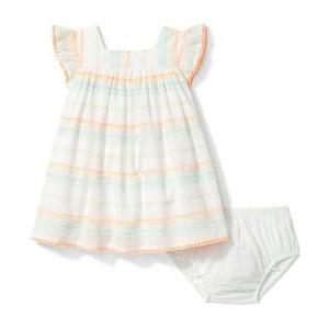 Striped Fringe Trim Dress