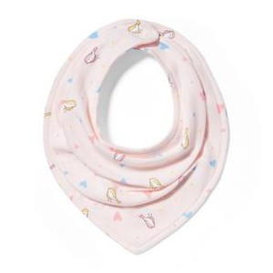 Bird and Heart Print Bandana Bib