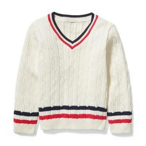 Striped Cable Knit Pullover