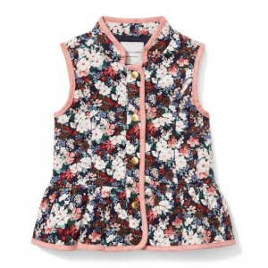 Quilted Floral Peplum Vest