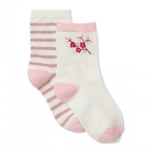 Shimmer Striped & Flower Sock 2-Pack