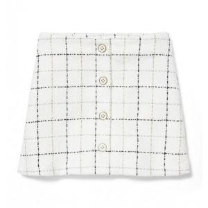 Plaid Button Skirt
