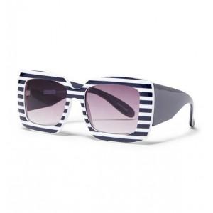Navy Stripe Square Sunglasses