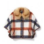 Plaid Fur Collar Cape