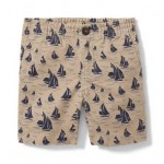 Sailboat Print Twill Short
