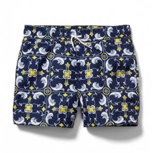 Tile Print Swim Trunk