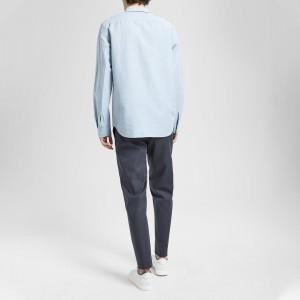 Essential Linen Hidden-Button Collar Shirt